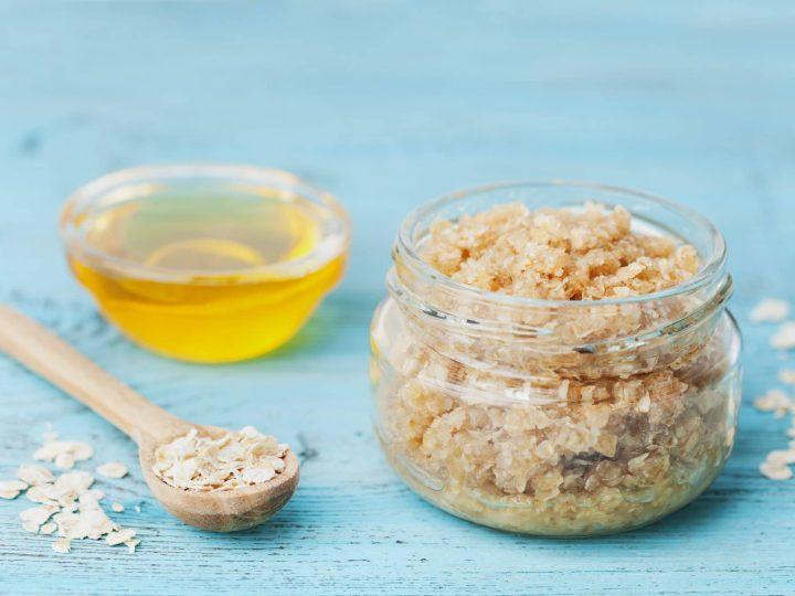 sugar honey oatmeal scrub in a mason jar