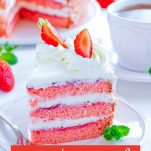 strawberry Cake with strawberries white icing and strawberry jam. with text overly