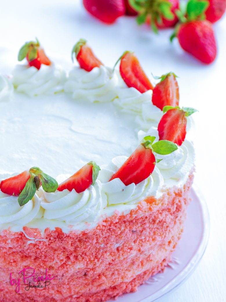 strawberry Cake with strawberries and strawberry jam.