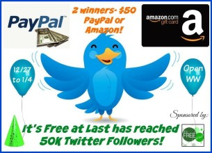 $50 Amazon or Paypal (Winners Choice, 2 winners) Giveaway!