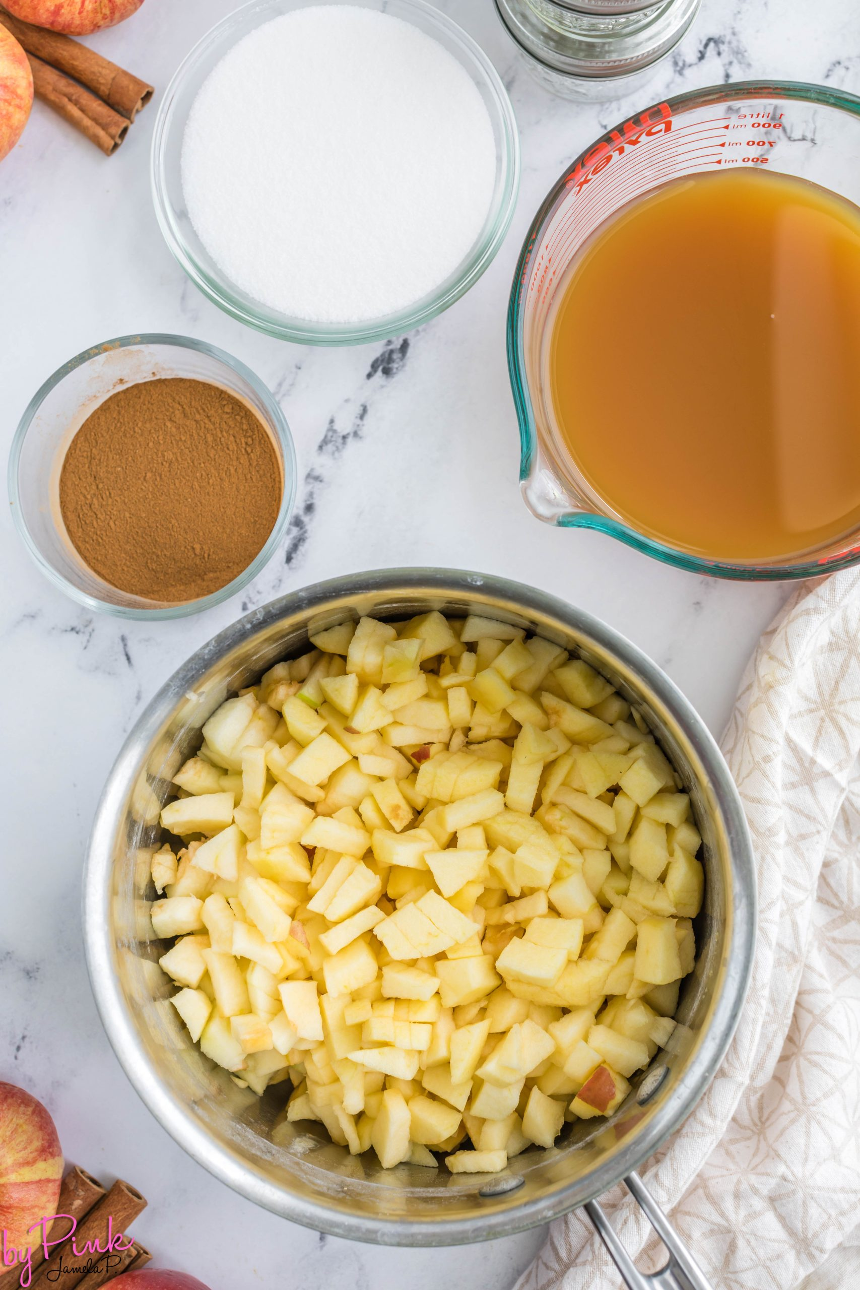 peeled chopped apples in a bowl