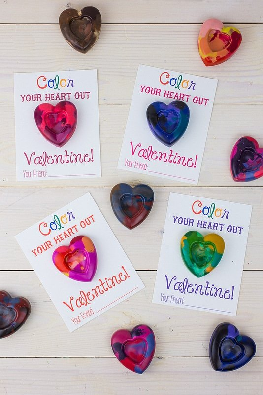 Handmade Valentines with Heart Shaped Crayons