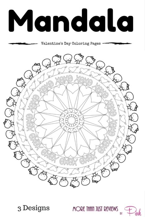 Mandala Art Inspired Valentine S Day Coloring Pages By Pink