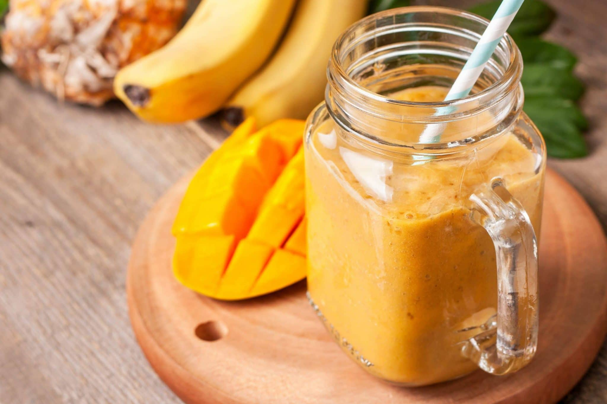 mango smoothie with tropical fruits