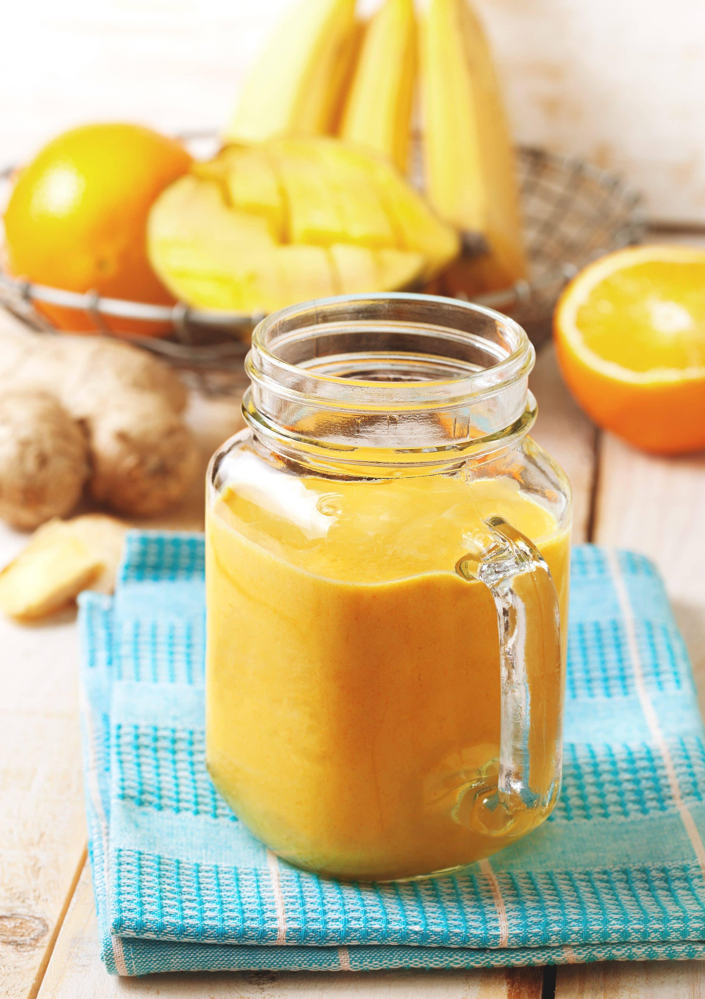 mango detox smoothie of banana, orange, mango, ginger