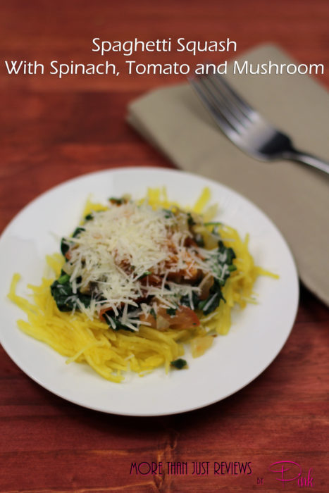 Spaghetti Squash With Spinach, Tomato and Mushroom