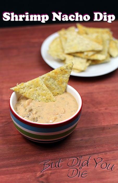 Low Carb, Keto Friendly Tortilla Chips and Shrimp Nacho Dip.