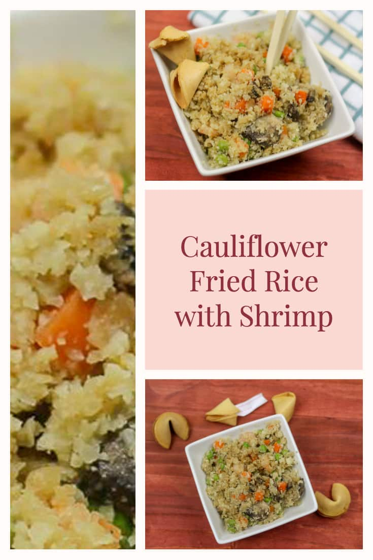 Cauliflower fried rice with shrimp is the perfect alternative to ordering takeout. This is lower carb and healthier version, that still taste absolutely mouthwatering.  #Cauliflower #Soy #Sauce #Low #Carb #Peas #shrimp #Stir #Fry #Veggies