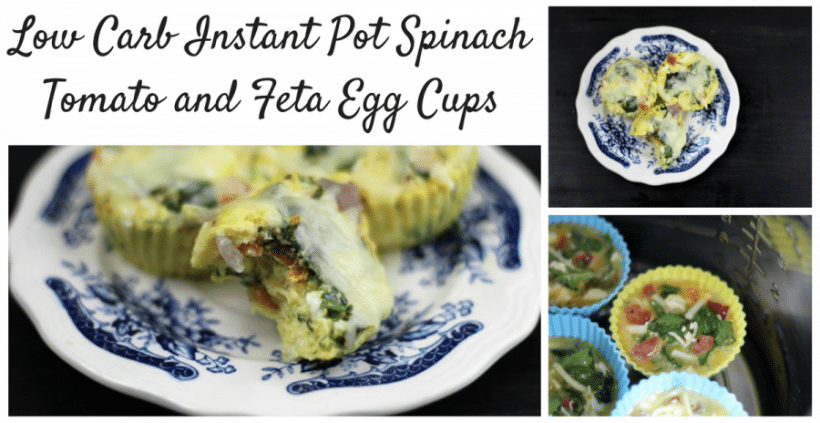 Low Carb Instant Pot Spinach Tomato and Feta Egg Cups