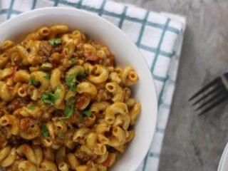 Top corner View of Instant Pot Cheeseburger Macaroni Hamburger Helper