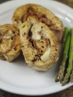 Low Carb Chicken Cordon Bleu Rollups