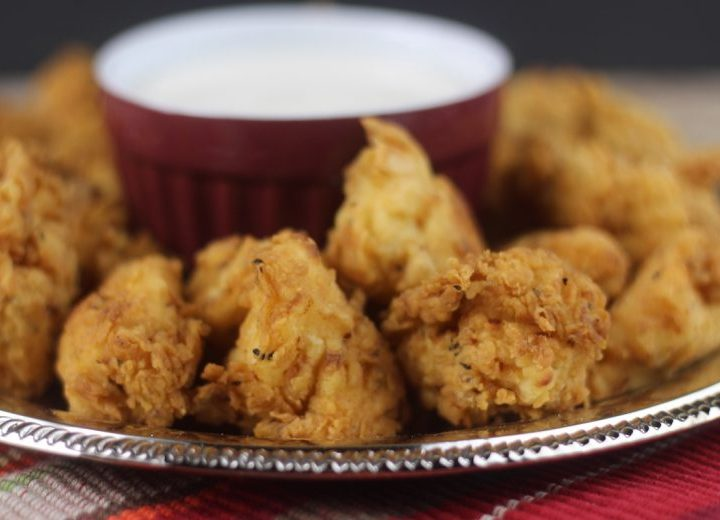 chick fil a chicken nuggets on a platter with ranch dipping sauce