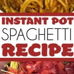 instant pot spaghetti, with text overlay
