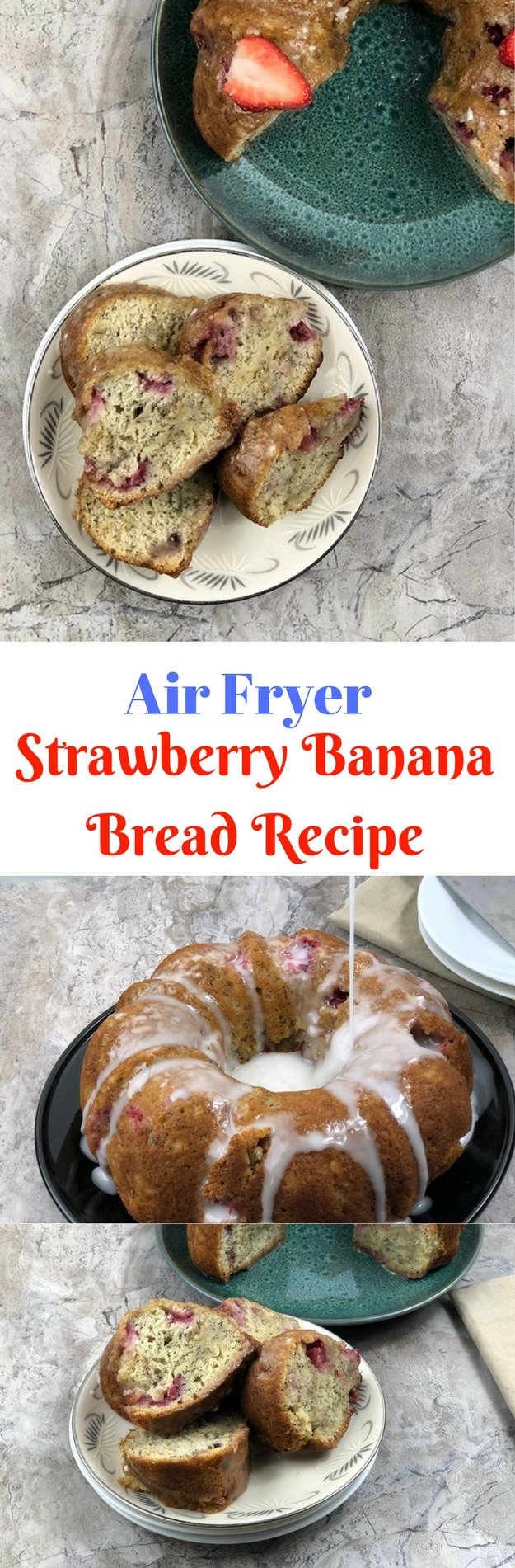 Air Fryer Strawberry Banana Bread Recipe the most magical things on earth include strawberries and bananas. I mean think about that breakfast smoothie you had with the strawberries and bananas, it was great, wasn't it. This bread was almost orgasmic, can I say that?