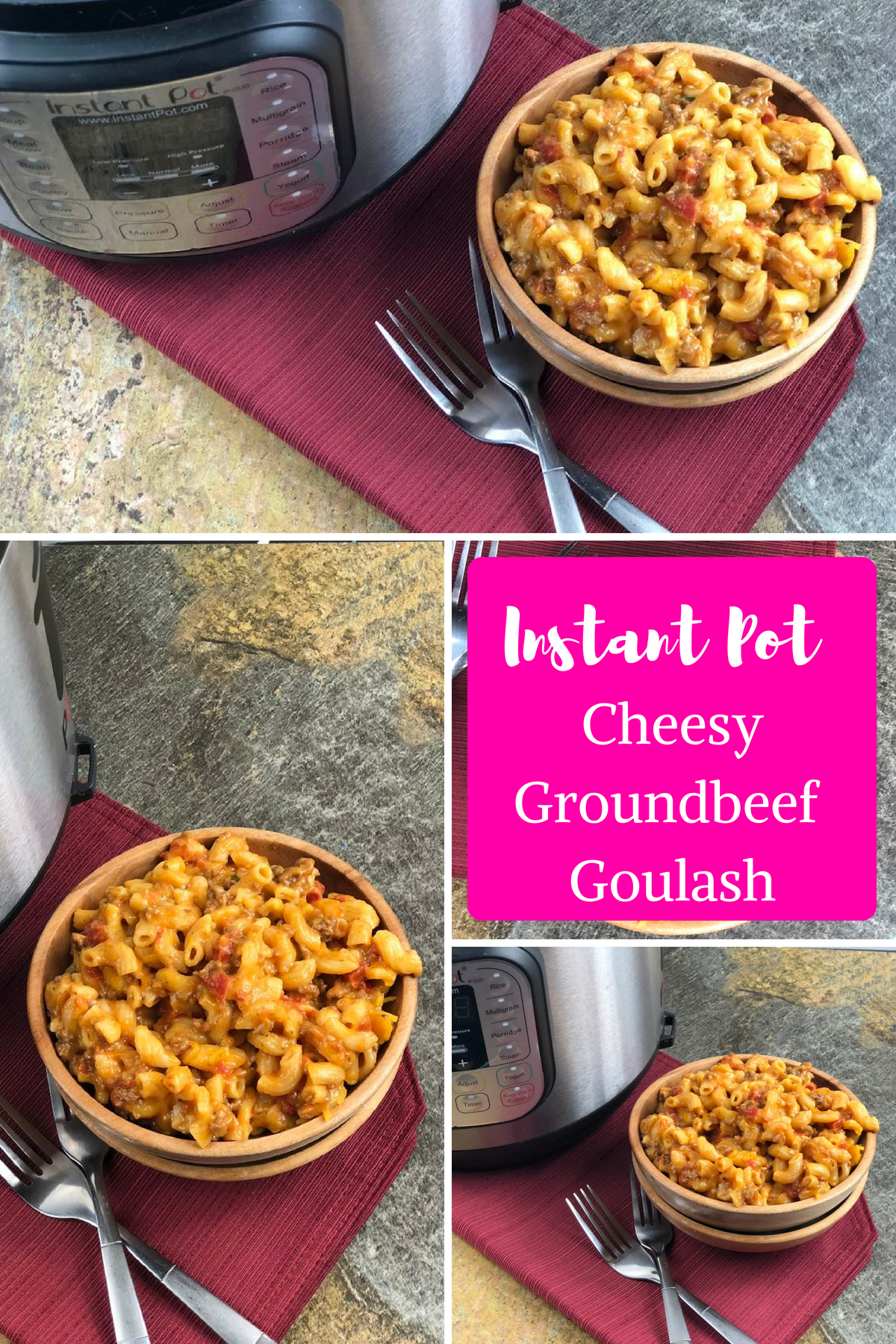 Instant Pot Cheesy Ground Beef Goulash. Now, you might be thinking this is like a goulash recipe your grandma used to make if so, you are wrong.  #groundbeef #instantpot #goulash #pressurecooking #easyrecipe #recipe