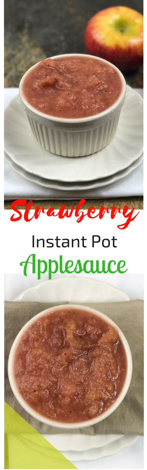 I love when apples go on sale and you can buy a surplus to have for our favorite recipes like apple pie, turnovers, and of course this strawberry applesauce. This strawberry Instant Pot applesauce is as simple as it gets. 2 ingredients gives you this perfectly sweet and smooth applesauce with a hint of tartness.