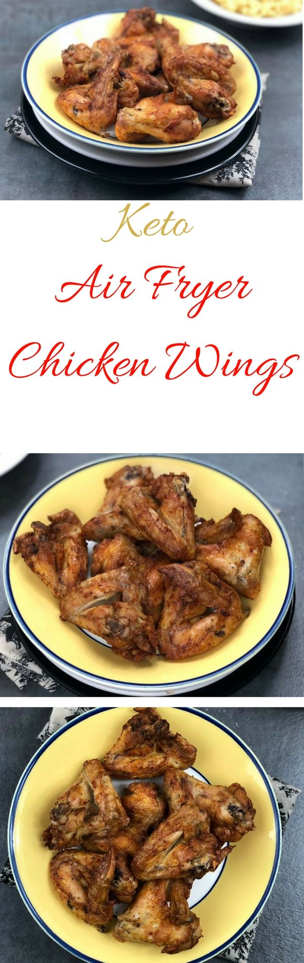 Chicken wings are one of my favorite fried foods. These Keto Air Fryer Chicken Wings are a healthier version of my favorite fried chicken recipe. I am currently following the keto lifestyle and my air fryer comes in handy anytime I have to cook 2 separate meals. #airfryer #chicken #keto #lowcarb #chickewings