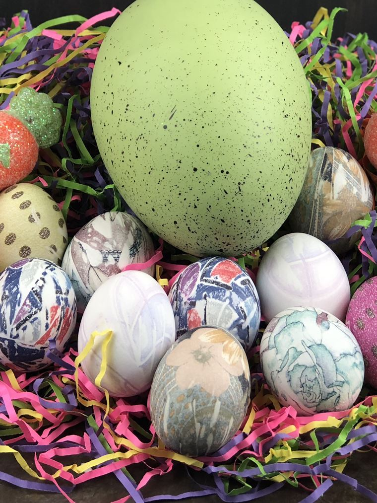 silk dyed eggs close up