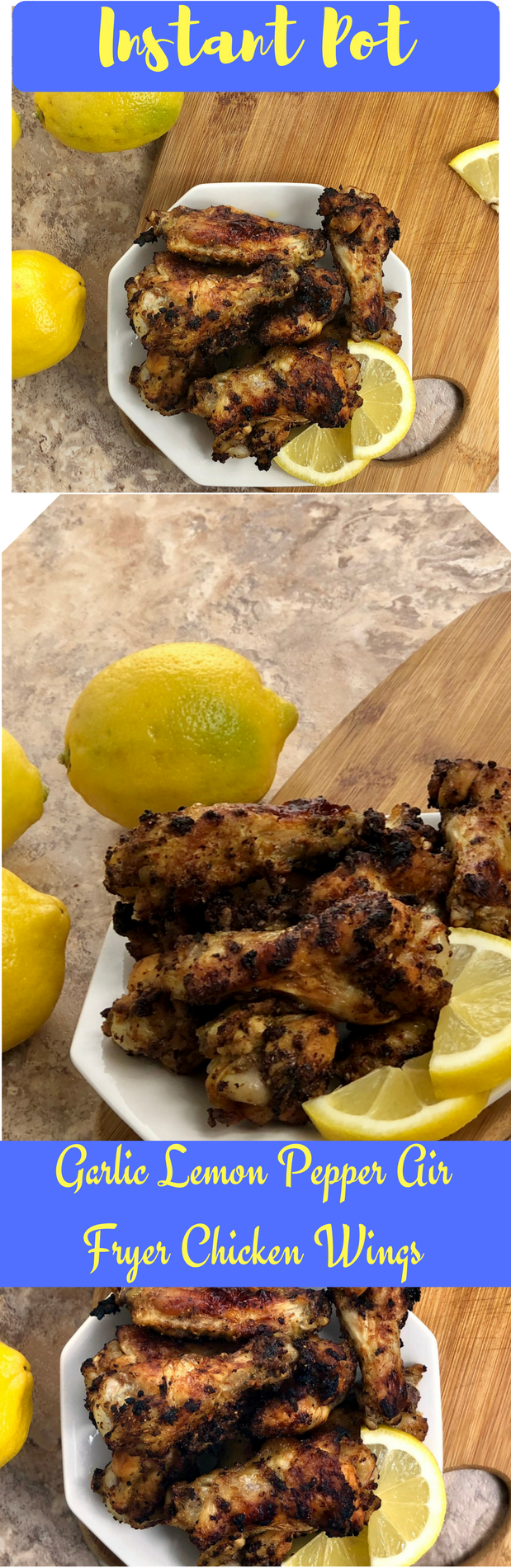 Garlic Lemon Pepper Air Fryer Chicken Wings