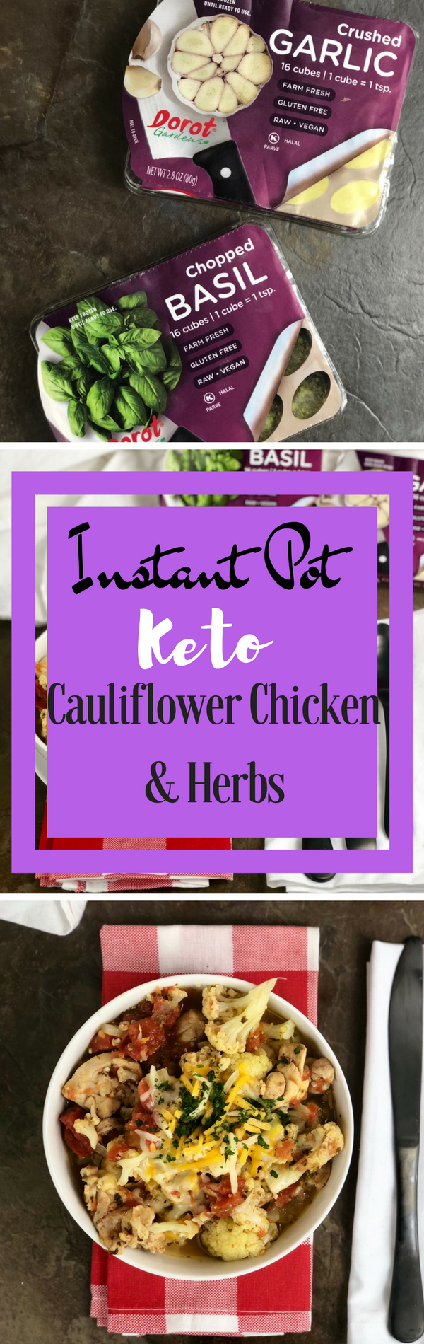 This Instant Pot Keto Cauliflower Chicken & Herbs is perfect for anyone who is looking for a flavorful dish while watching their carb intake. This meal is a breeze to whip up in your Instant Pot and is great for using the leftovers to take for lunches during the week to work. You have some colby jack cheese, a variety of herbs that really help add some great flavor to this keto dish. Your whole family will be asking for seconds on this hearty and healthy dish. #instantpot #keto