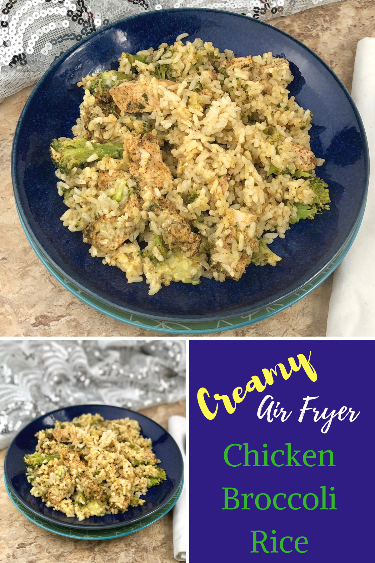 This creamy Creamy Air Fryer Chicken Broccoli Rice is a very simple recipe to make that creates a single serve dish. You create that all-in-one healthy dinner in foilpackets that are rich in flavor and will leave your family feeling satisfied. #airfryer #chicken #creamy #chickenrice #broccolirice #rice #broccoli