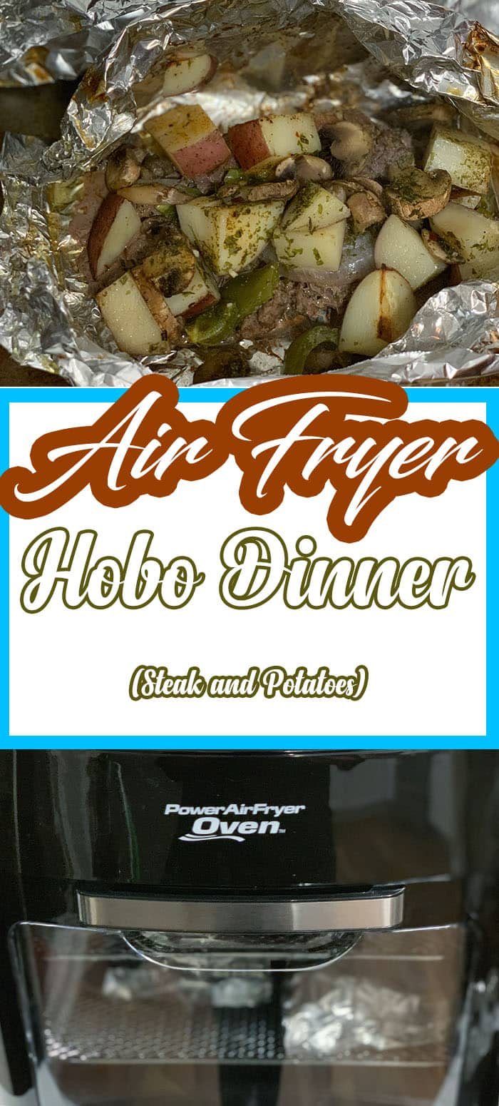 The Air Fryer Steak Hobo Dinner Recipe is an all-in-one recipe that is filled with juicy and flavorful steak, potatoes, peppers, mushrooms, and a handful of seasonings. #recipes #power #fryer #xl #air #fryer #oven #hobo #dinner #foil #packet