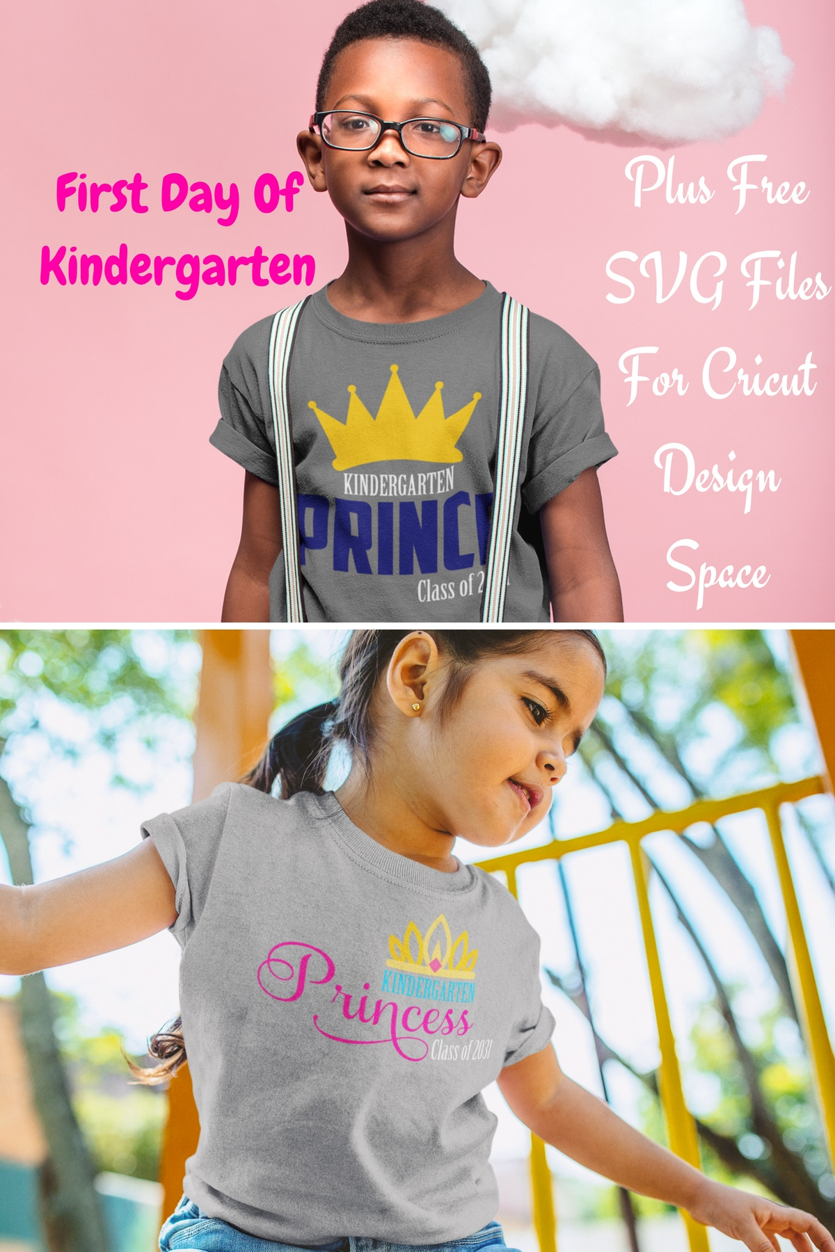 Can you believe that before we know it, school will be back in session and so many kids will be starting their first day of kindergarten? Making that first day memorable with a great outfit is easy with these Free SVG Files For Cricut Design Space. #cricut #designspace #cricutdesignspace #freesvg #kindergarten
