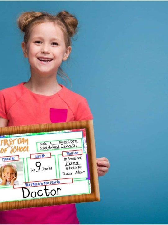 First Day Of School Signs: For Your Memory Books