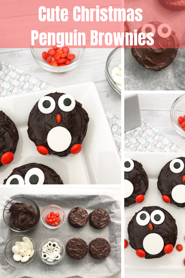 Christmas penguin brownies are such an adorable and delicious dessert to serve up to your family and friends. You have a fudgy homemade brownie that is decorated with candies to resemble a penguin. #christmas #brownie #brownies