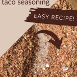 pin image of homemade taco seasoning in a wooden bowl with text over lay