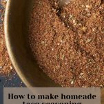 pin image of homemade taco seasoning in a wooden bowl