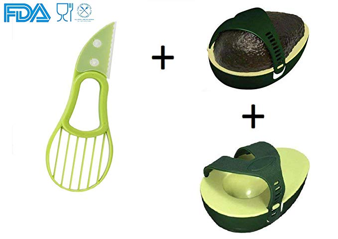Avocado Saver and Avocado Keeper (2 pack) and 3 in 1 Avocado Slicer Pitter Cutter