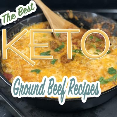 Square image of keto ground beef taco skillet with spoon hanging out of the skillet