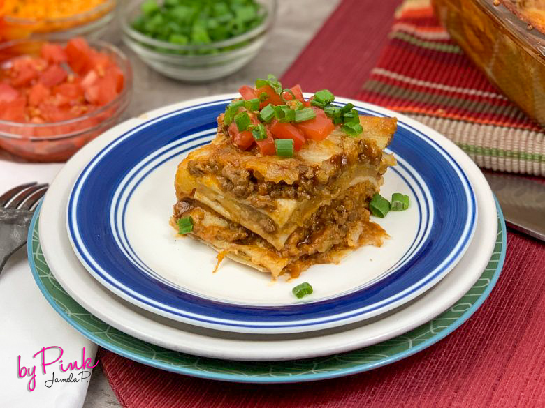 side view of mexican taco lasagna