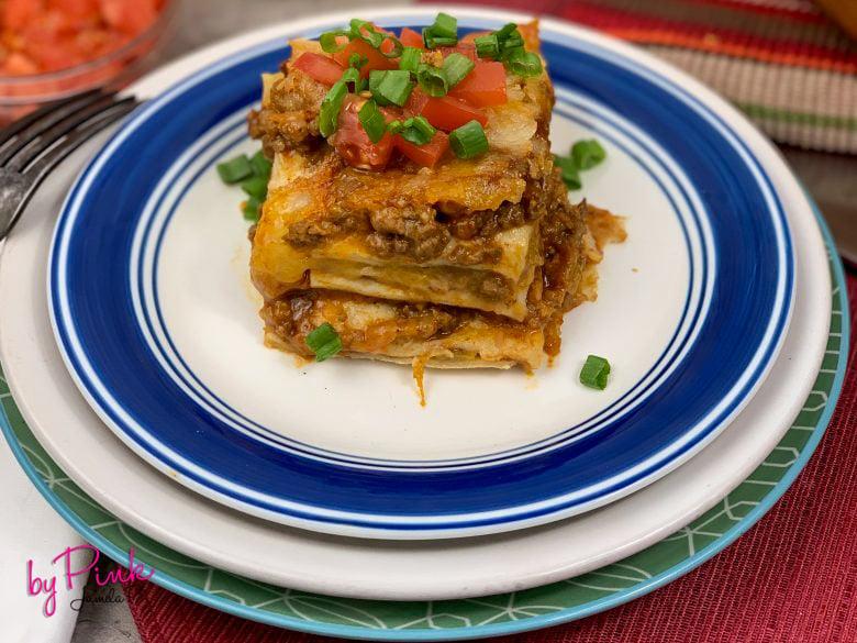 front view of mexican taco lasagna