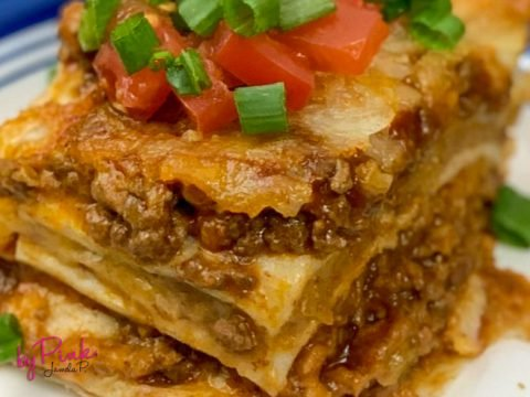 close up of mexican lasagna in the air fryer