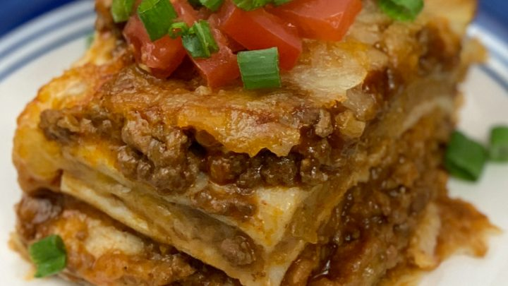 Close up of mexican lasagna recipe made in the air fryer oven