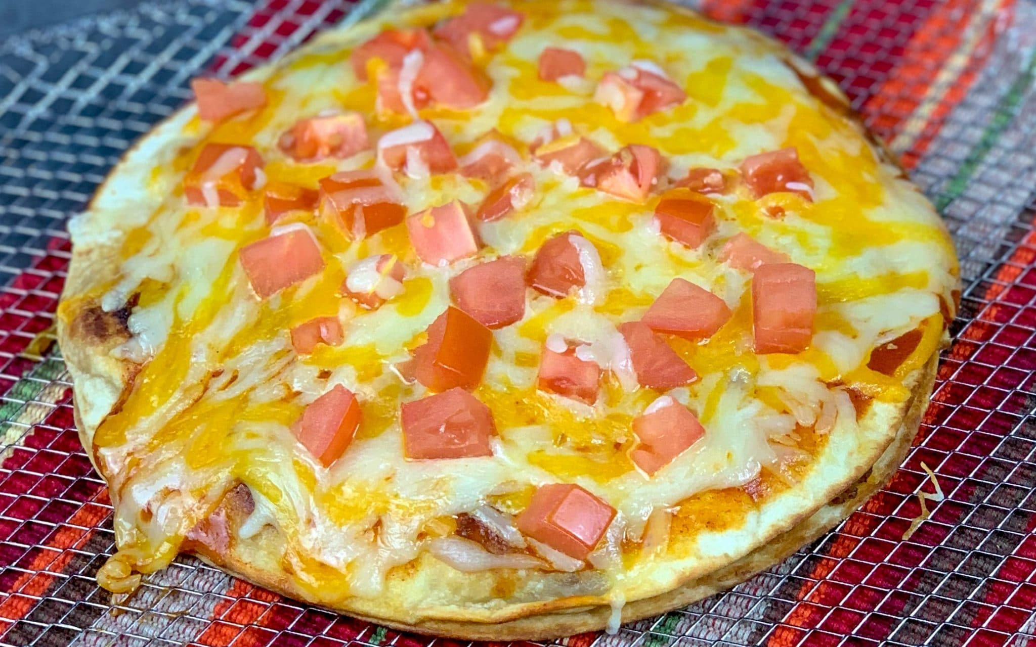 close up of mexican pizza