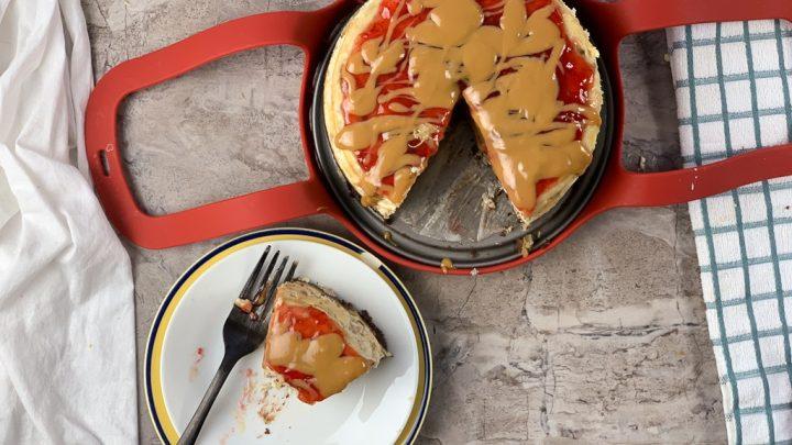 flat lay of banana split cheesecake
