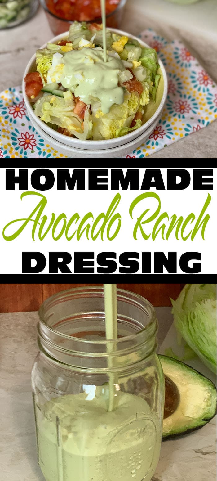 Do you love ranch dressings and dips? Do you love avocados? If yes, you will go bonkers for this avocado ranch dressing. #avocado #ranch #homemade #dressing #recipes #lowcarb #keto