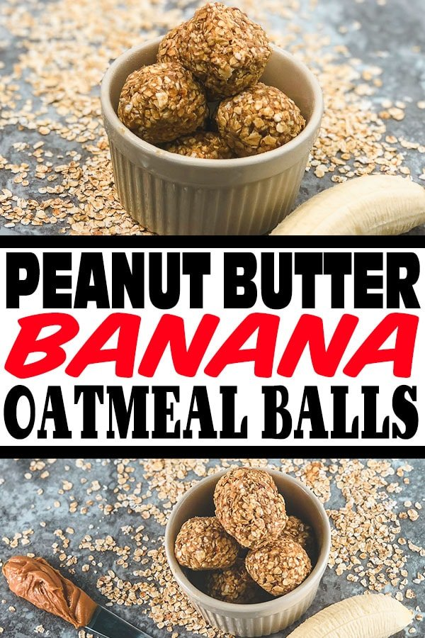 These Peanut Butter Oatmeal Balls With Banana are the perfect on-the-go breakfast or snack for any time of the day. #oatmealballs #energy #protein