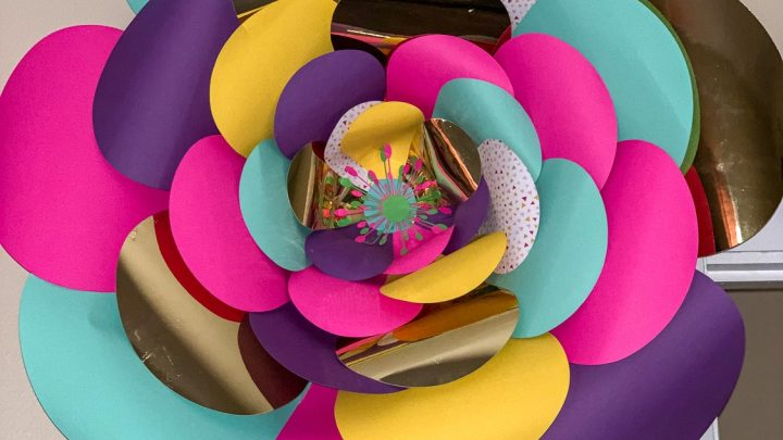 multi colored paper flower