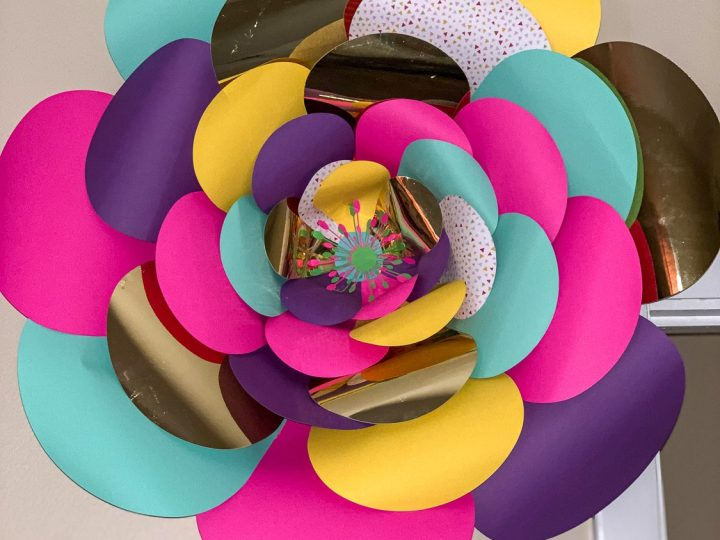 multi colored paper flower