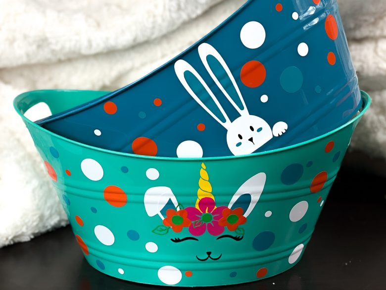 teal diy easter basket with bunnicorn and colorful dots and blue easter basket with peeking bunny and colored dots