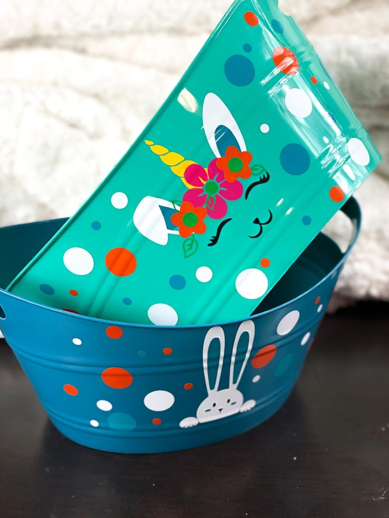 teal diy easter basket with bunnicorn and colorful dots and glue with peeking bunny and colored dots