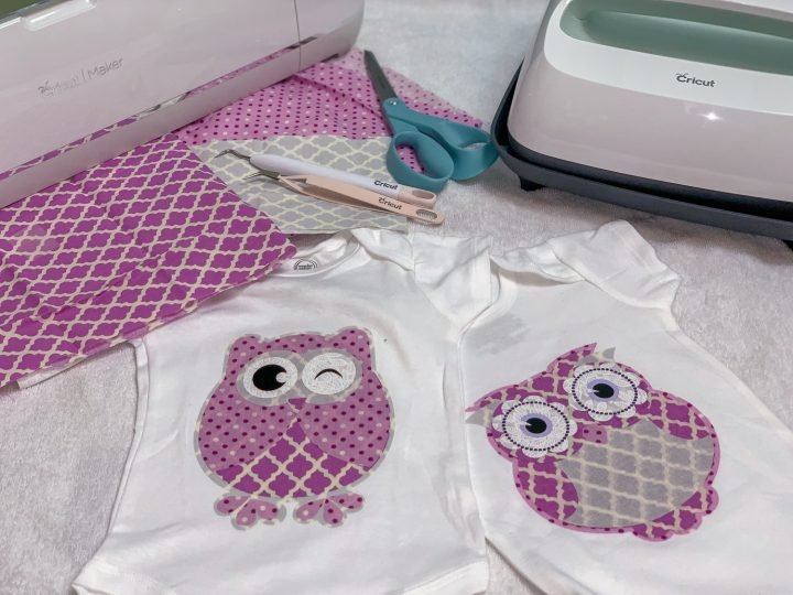 cricut maker fabric appliqué with owls made out of vinyl and fat quarters