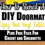 pin image coir mat with stencil made from yellow vinyl