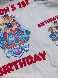 paw patrol print and cut shirts