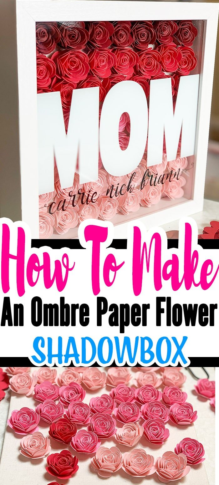 You learned How To Make Paper Rose now what to do with them. One of my favorite paper rose projects is the Ombre paper flower shadow box. #cricutmade