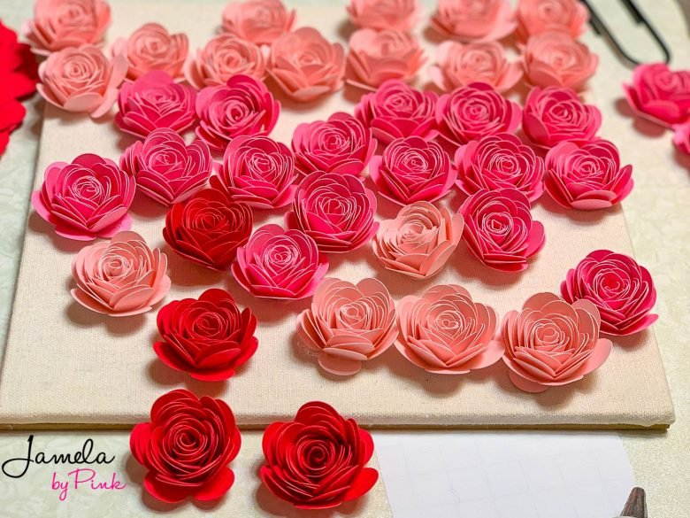 red hot pink and pale pink ombre paper roses